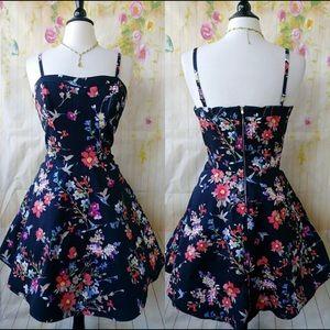 Black Floral Sweetheart Spaghetti Strap Dress